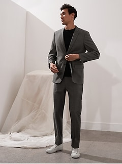 Veste de complet en laine italienne peau de requin, coupe étroite