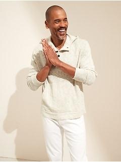 Cotton-Linen Henley Hoodie Sweater