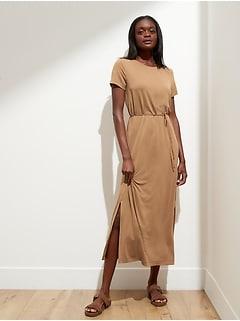 Petite Sandwash Maxi T-Shirt Dress with Side Slits