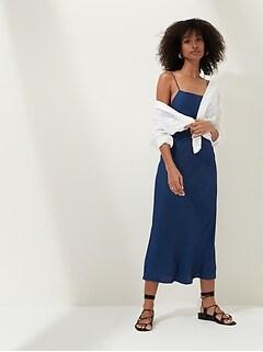Petite Square-Neck Slip Dress