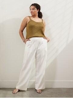 Pantalon à taille élastique haute et à jambe large