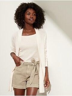 Petite Hemp-Cotton Long Cardigan Sweater