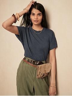 Linen-Blend Short-Sleeve Sweater