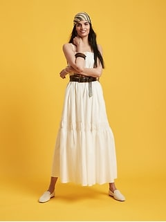 Petite Poplin Backless Maxi Dress