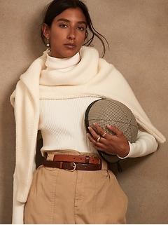 Chandail à col roulé en tricot côtelé