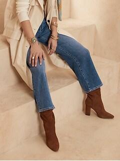High-Rise Slim Wide-Leg Cropped Jean
