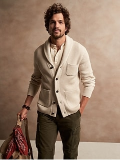 SUPIMA® Shawl-Collar Cardigan Sweater