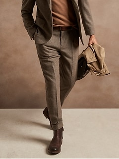 Relaxed Tapered Herringbone Suit Pant