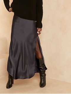 Bias-Cut Silk Maxi Skirt