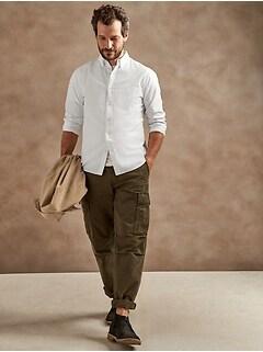 Chemise oxford en coton, coupe cintrée à porter à l'extérieur
