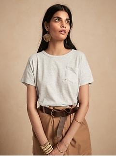Petite Slub Cotton-Modal Boxy T-Shirt