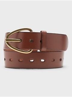 V-Buckle Leather Belt