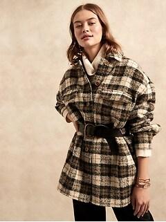 Petite Oversized Italian Bouclé Shirt Jacket