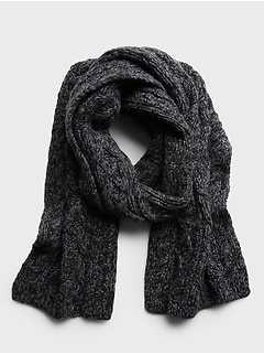 Italian Wool-Blend Cable-Knit Scarf