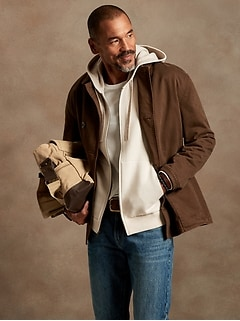 Organic Double-Knit Zip Sweater Hoodie
