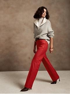 High-Rise Straight Italian Wool Pant