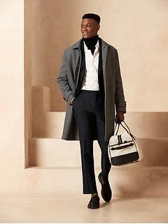 Slim Tapered Navy Italian Wool Tuxedo Pant