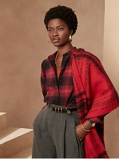 Organic Flannel Bishop-Sleeve Blouse