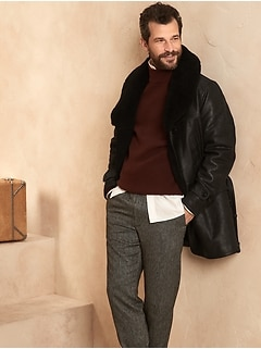 Shawl-Collar Leather Coat with Shearling Collar